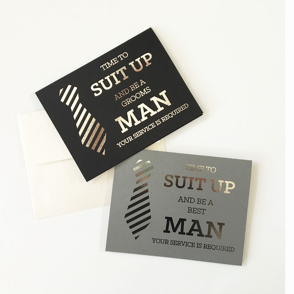 Suit Up Service Required Groomsman Cards Note Cards