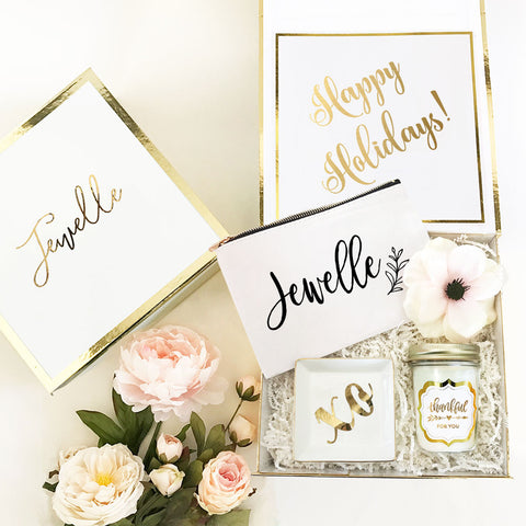 Personalized Holiday Gold Gift Box