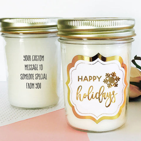 Holiday Monogram Mason Jar Candle