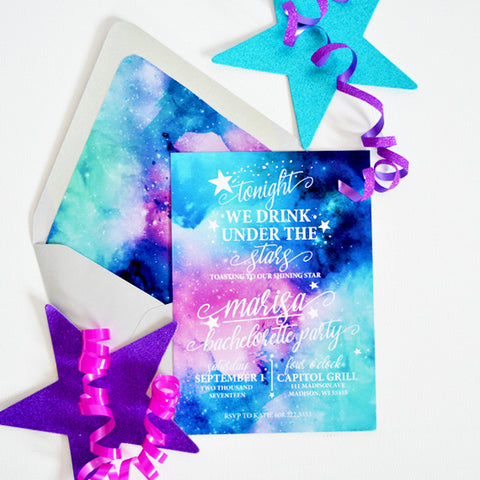 Galaxy/Starry Night Bachelorette Party Invitation - Tonight We Drink Under The Stars