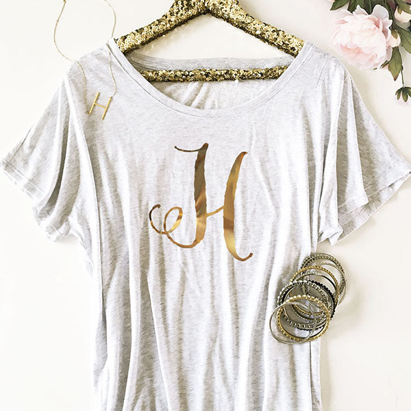 Monogram Loose Fit  Gold Foil Shirt