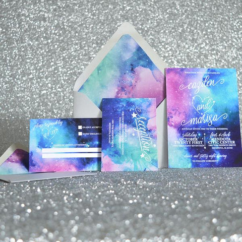 Galaxy Written In the Stars Wedding Invite Suite