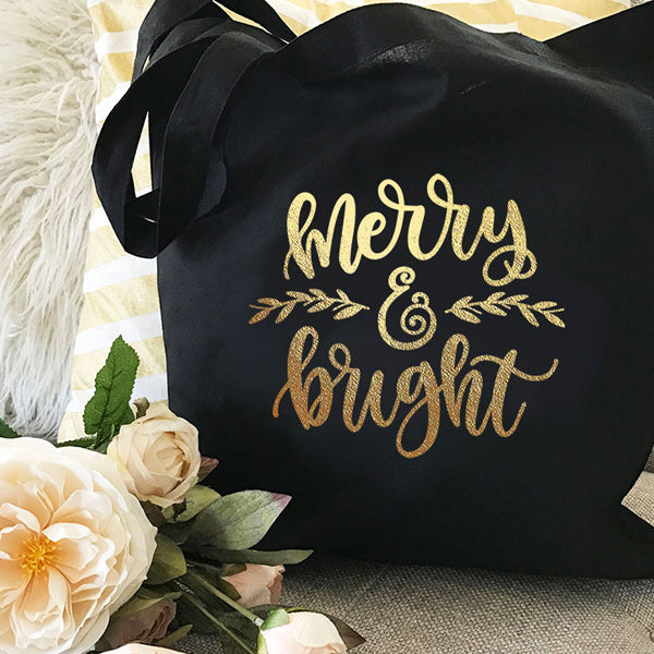 Holiday Canvas Natural And Black Gold Foil Tote