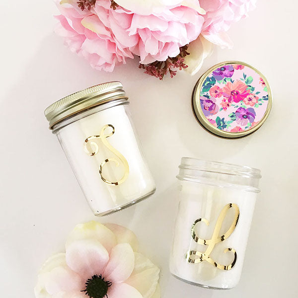 Monogram Mason Jar Candle
