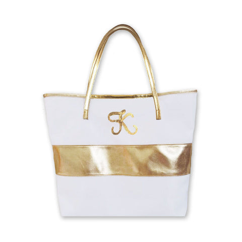 Gold Stripe Monogram Initial Tote