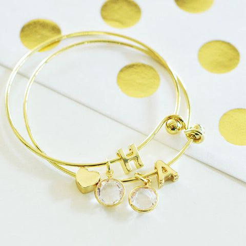 Gold Monogram Bracelet With Gold Dot Insert