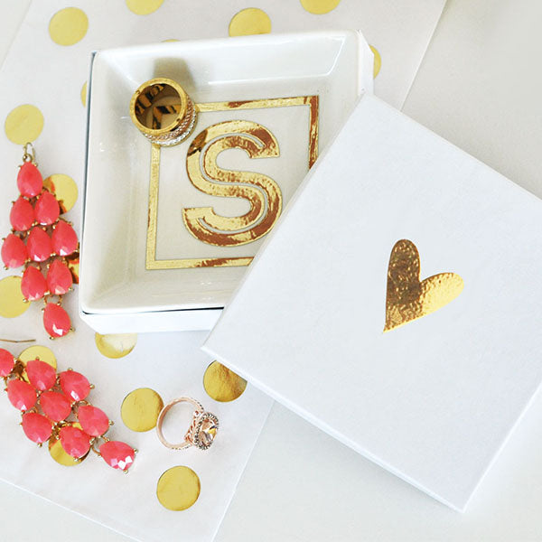 Monogram Jewelry Ring Dish With Gold Foil
