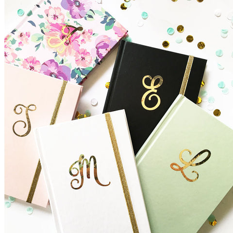 Personalized Gold Script Monogram Journal
