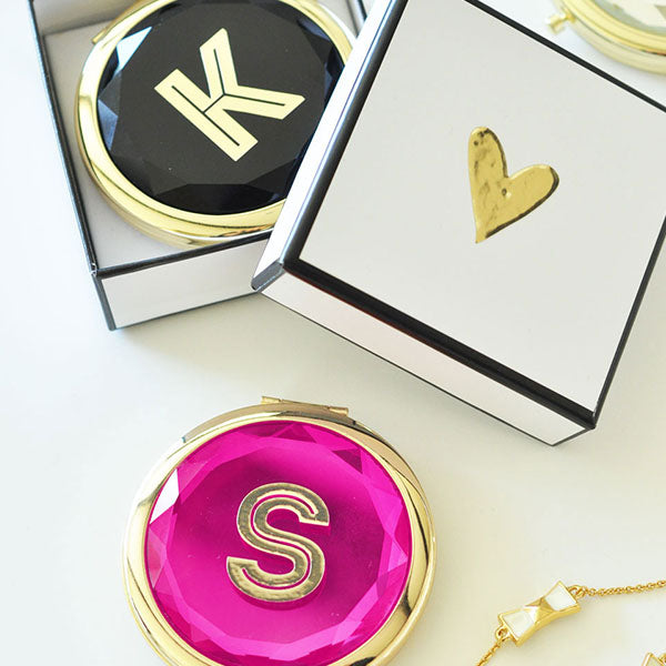 Monogram And Heart Compact Personalized
