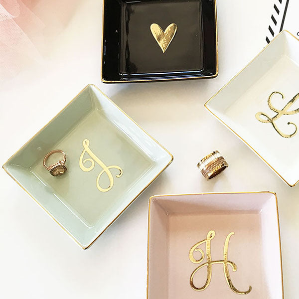 Script Colored Monogram or Heart Jewelry Ring Dish