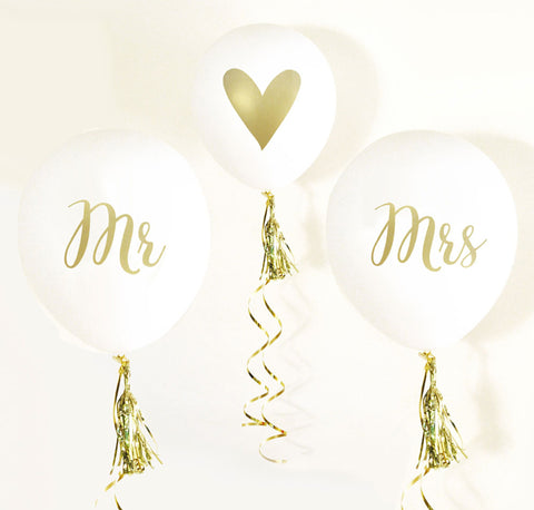 Gold Metallic Mr. & Mrs. Balloons