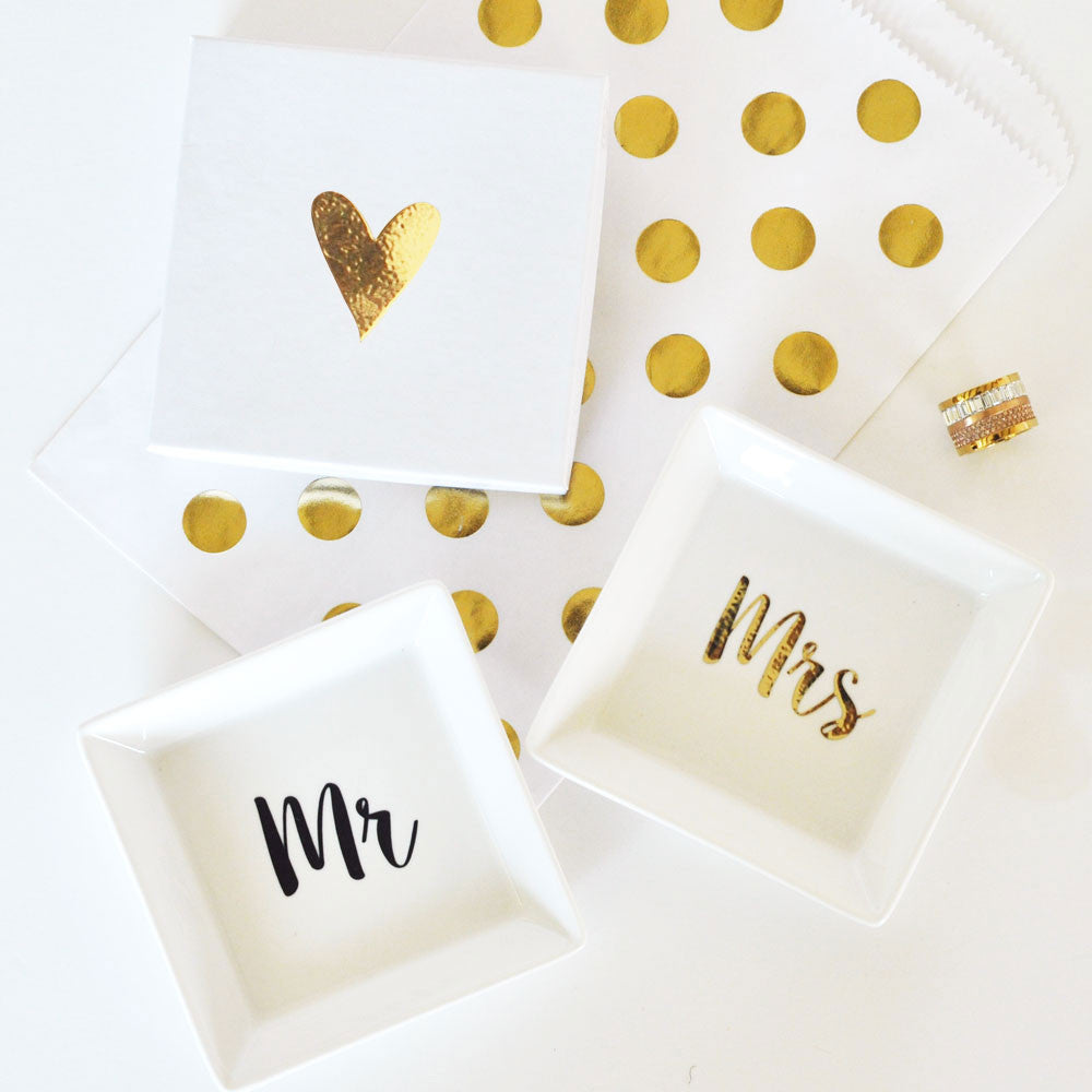 Mrs. And Mr. Jewelry Ring Dish With Gold Foil