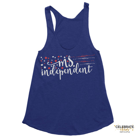 Ms. Independent - Red, White And Blue Star Women's Tank Top