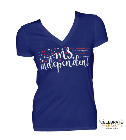 Ms. Independent - Red, White And Blue Star Women's VNeck