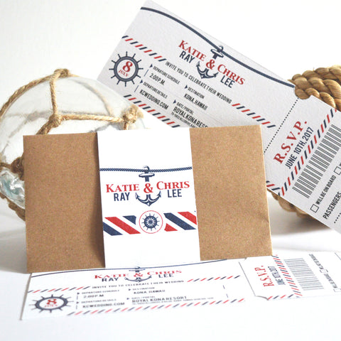 Nautical Boarding Ticket Wedding Invitation
