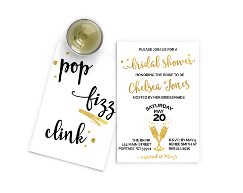 Pop, Fizz, Clink, Bridal Shower Invitation