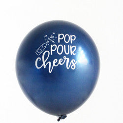 Pop Pour Cheers -  Navy Hand Lettered Balloons (Set of 3)