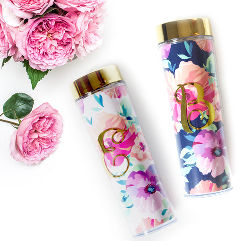 Floral Gold Monogram Water Bottle/Tumbler