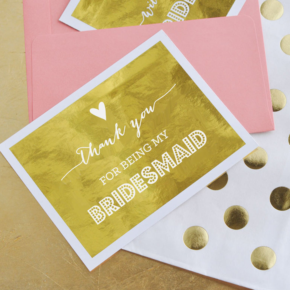 Thank You Gold Foil Bridal Party Cards