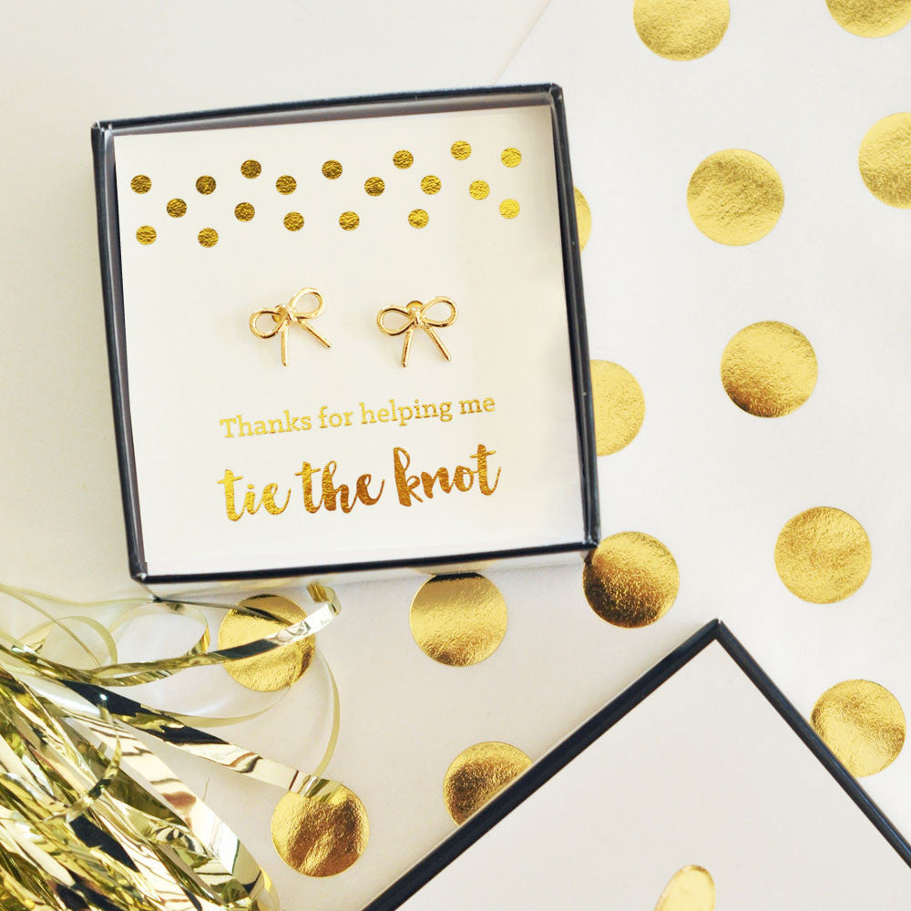 Tie The Knot Gold Earrings - Thank You