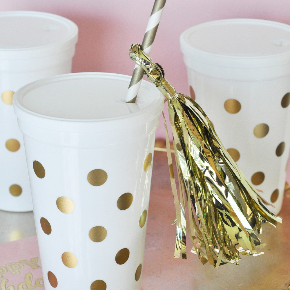 White Gold Dot Party Cups w/Lids (set of 25)