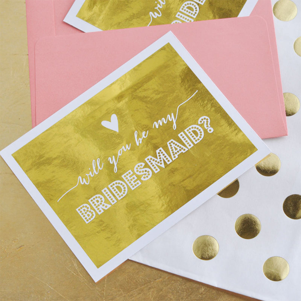 Gold Foil Bridal Party Proposal Cards