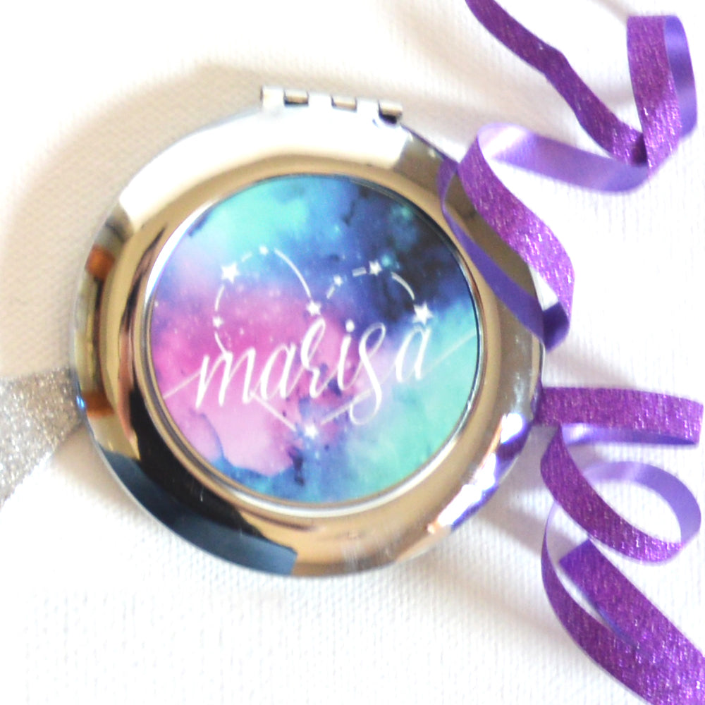 Personalized Galaxy/Star Compact Mirror