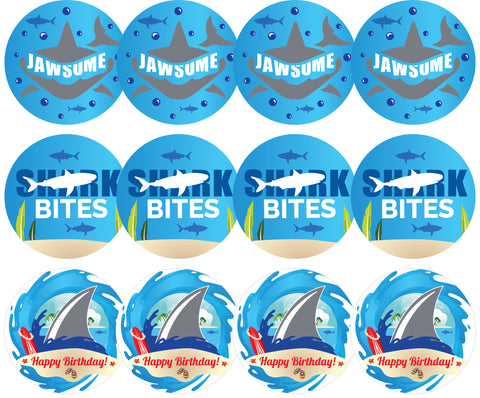 Shark Theme Cupcake & Dessert Toppers - Jawsome, Birthday, Shark Bites - Set of 12
