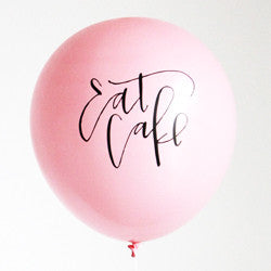 Eat Cake - Pink Calligraphy Balloons (Set of 3)