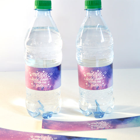Water Bottle Labels - Galaxy Bridal Shower/Wedding Personalized Labels
