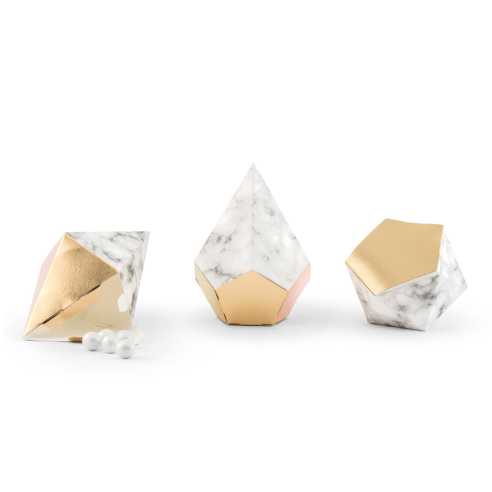 Gold And Marble Geo Favor Boxes