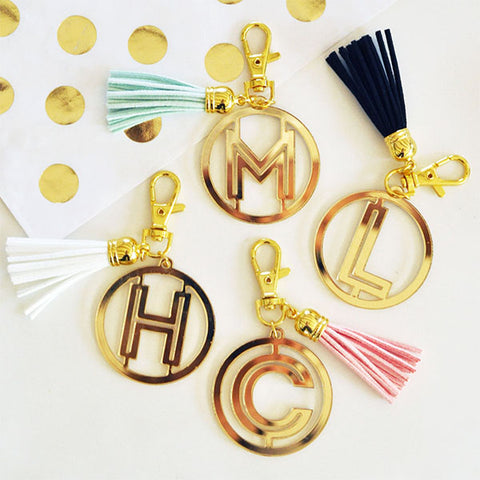 Gold Monogram Tassel Key Chain