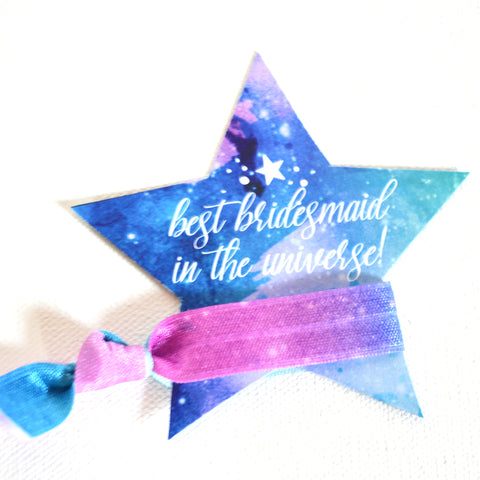 Personalized Galaxy/Star Hair Tie - Best Bridesmaid In The Universe