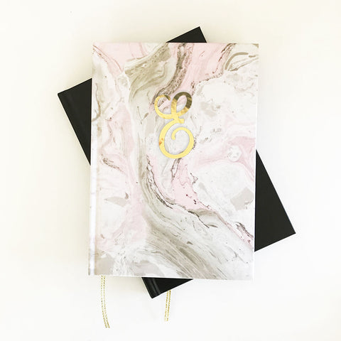 Personalized Marble Gold Monogram Journal & Notebook