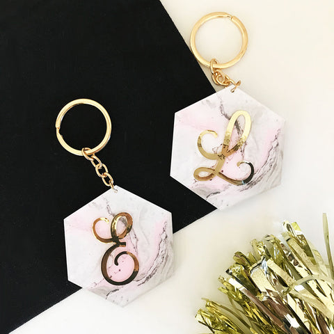 Pink/Gray Marble Gold Monogram Keychain