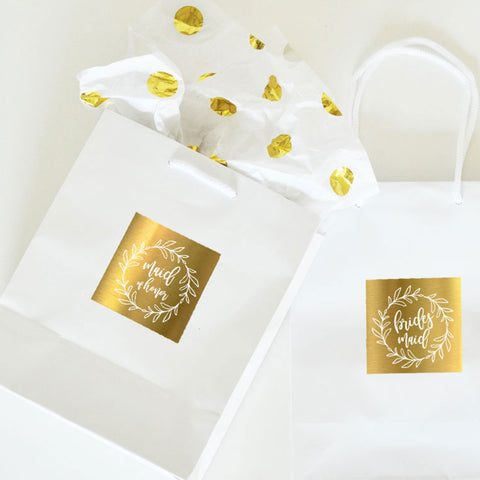 Wreath Metallic Foil Gold Bridal Gift Bags
