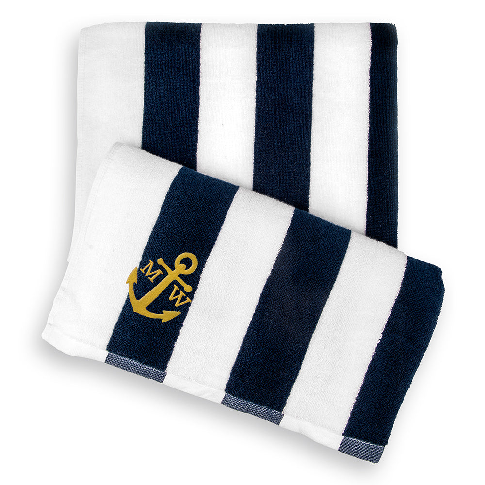 Navy Striped Anchor Personalized Beach Towel
