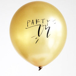 Party On - Gold Calligraphy Balloons (Set of 3)