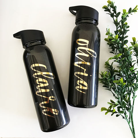 Gold Metallic & Black Personalized Sports Water Bottle