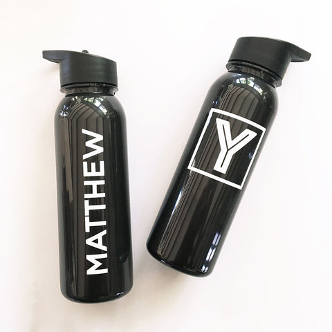 Personalized Black Sports Water Bottle