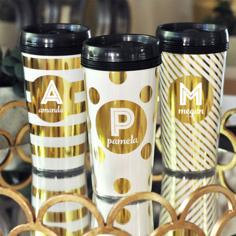 Monogram/Name Metallic Foil Coffee Travel Mug