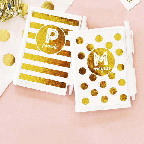 Monogram/Name Gold Foil Mini Notebook And Pen