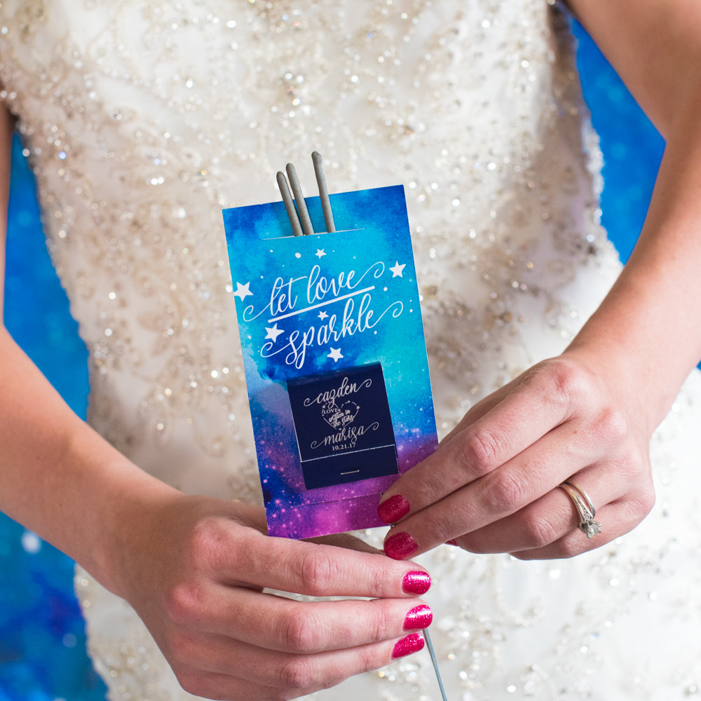 Personalized Galaxy/Star Wedding Sparkler Tag & Matchbook
