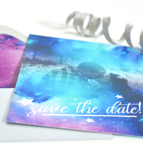 Save The Date - Galaxy/Starry Night With Personalized Photo