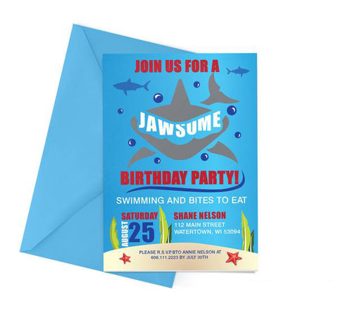 Shark Themed Birthday Party Invitation
