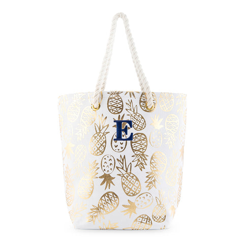 Monogram Pineapple Gold Tote Bag