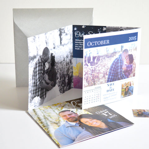 Tri-fold Save The Date & Calendar Sticker