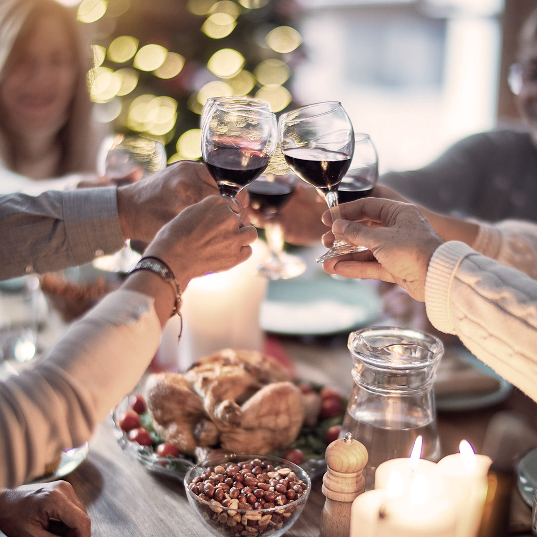 Thanksgiving dinner cheers with wine.