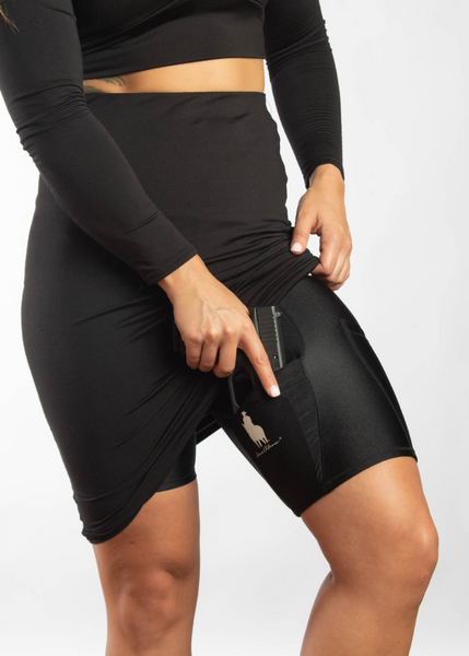 Black Body Shaping Thigh Holster Concealed Carry Shorts