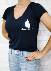 """God & Country"" Women's Navy Slouchy V-Neck T-Shirt"